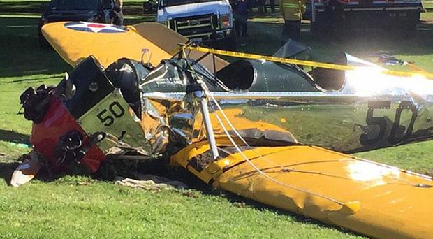 Actor Harrison Ford's vintage plane which crashed on a golf course in Venice, California