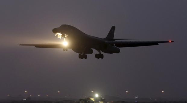 A B-1 bomber prepares to land after finishing a mission against IS targets. (AP)