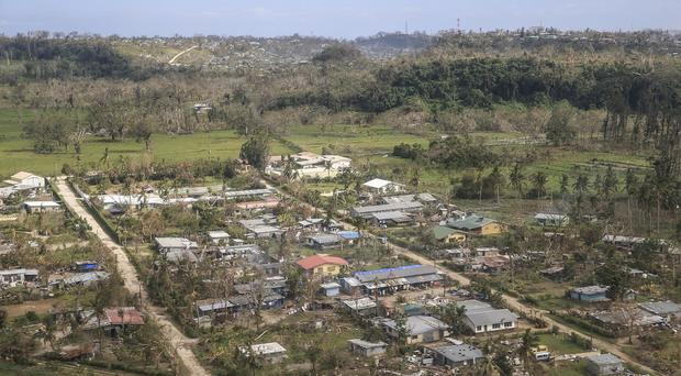 The scene from the air near Bauerfield International Airport in Vanuatu after Cyclone Pam