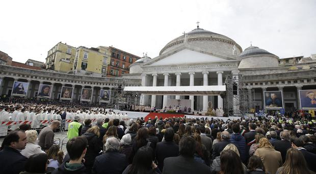 Pope Francis celebrates Mass in Naples (AP)