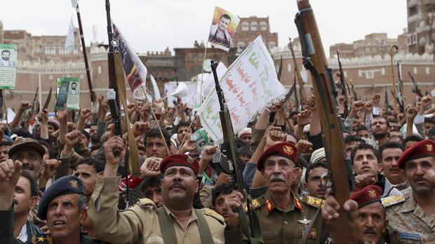Yemen's Houthis protest against Saudi-led air strikes (AP)