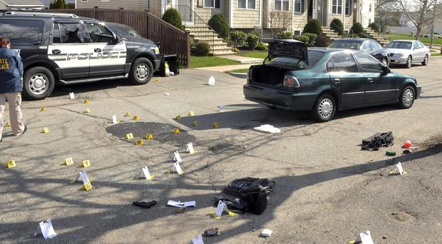 The scene of the April 19 2013 gun battle in Watertown, Massachusetts, between police and marathon bombers the Tsarnaev brothers (US Attorney's Office/AP)