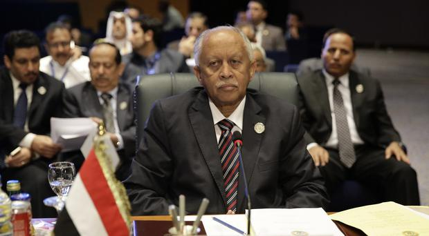 Yemeni foreign minister Riad Yassin attends an Arab summit in Sharm el-Sheikh, Egypt (AP)