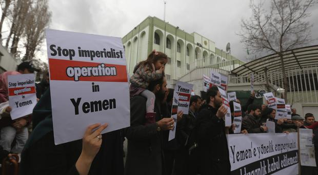 A group of pro-Islamic Turks protest against the Saudi Arabia-led coalition's military operation in Yemen, in Ankara, Turkey (AP)