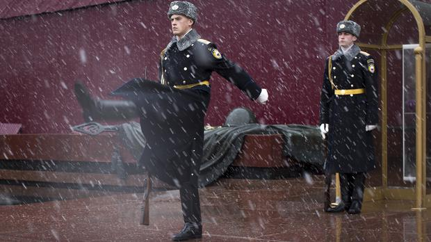 Kremlin guards at the Tomb of the Unknown Soldier in Moscow (AP)