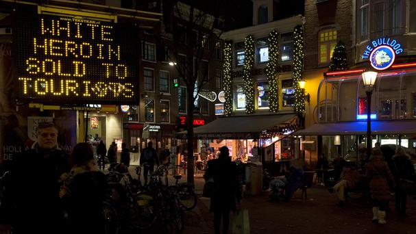 An electronic sign in Amsterdam warns tourists of 'white heroin' (AP)