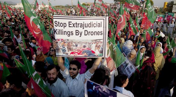 Demonstrators in Islamabad rally to condemn US drone attacks in Pakistani tribal areas (AP/file)