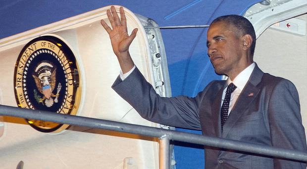 Barack Obama arrives in Panama on Air Force One (AP)