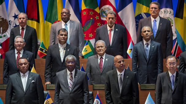 Barack Obama, right middle row, and Raul Castro, left middle row, join other world leaders at the Summit of the Americas arrival ceremony in Panama City (AP)