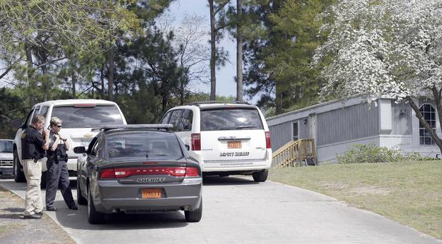 Police at the home of shooting suspect Kenneth Stancil in Dudley, North Carolina. (AP)