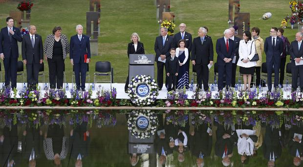 Speakers, including former President Bill Clinton, commemorate the 20th anniversary of the Oklahoma City bombing