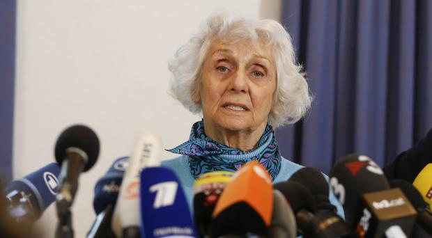 Auschwitz survivor Eva Pusztai-Fahidi, from Hungary, attends a news conference on the eve of the trial of SS guard Oskar Groening in Lueneburg, northern Germany (AP Photo/Markus Schreiber)