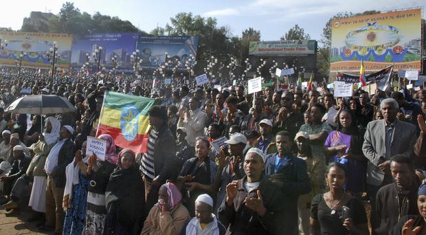 Thousands of people protest the killing of many Ethiopian Christians in Libya by Islamic State. (AP)