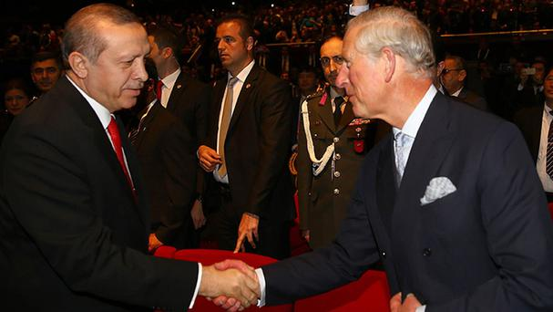 Charles meets Turkey's President Recep Tayyip Erdogan at the Centenary Commemoration of Canakkale Land and Sea Battles Ceremony