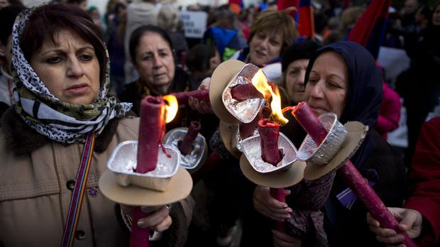 Armenian women during a march to commemorate the 100th anniversary of the massacres. (AP)