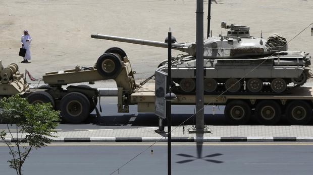 An army tank being transported near the Saudi-Yemen border. (AP)