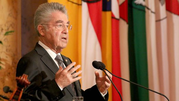 Austrian president Heinz Fischer delivers a speech during ceremony on the anniversary of the foundation of the Second Republic of Austria 70 years ago (AP)
