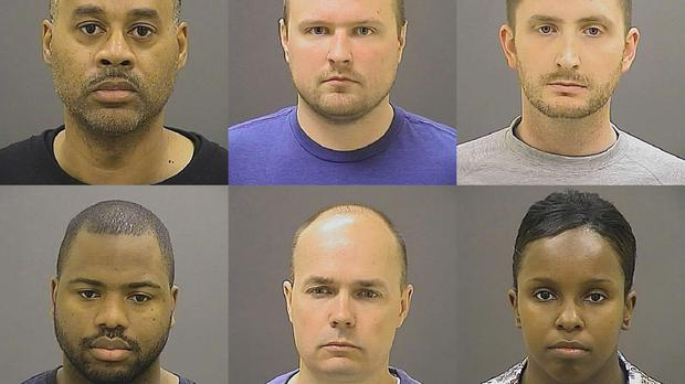 Top row row from left, Caesar R. Goodson Jr, Garrett E Miller and Edward M Nero, and bottom row from left, William G Porter, Brian W Rice and Alicia D White, the six police officers charged in connection with the death of Freddie Gray (AP/Baltimore Police Department)