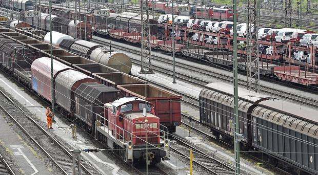 Freight trains stand still at a station in Hagen at the start of Germany's longest rail strike (AP)