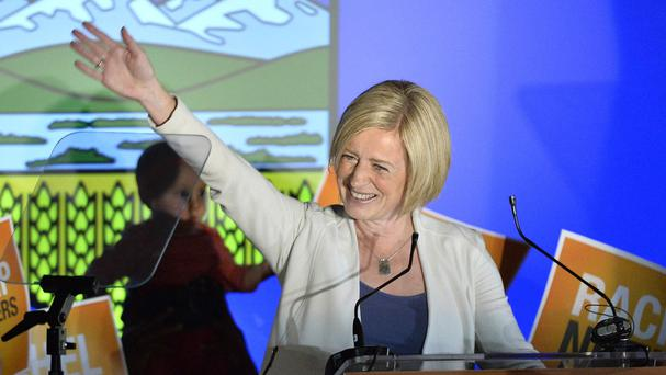Alberta NDP leader Rachel Notley celebrates after being elected the province's new premier (The Canadian Press/AP)