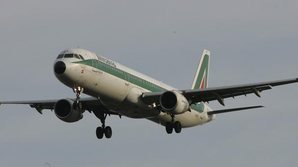 Italy's flagship Alitalia airline said in a statement that all departures have been cancelled up to 2pm