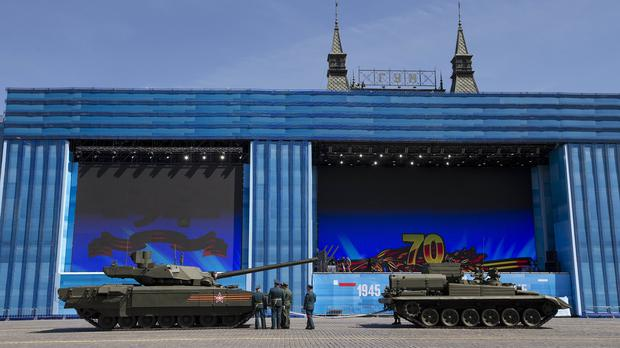 Russian army officers speak to a crew member of the new T-14 Armata tank at Red Square (AP)