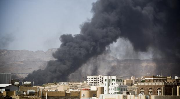 A Saudi-led airstrike hit a site believed to be a munitions storage in Sanaa, hours before a ceasefire was due to begin (AP)