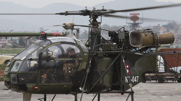 A Nepalese army chopper spotted the suspected wreckage of a US Marine helicopter