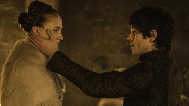Sophie Turner as Sansa Stark and Iwan Rheon as Ramsay Bolton in a scene from Game Of Thrones (HBO/AP)
