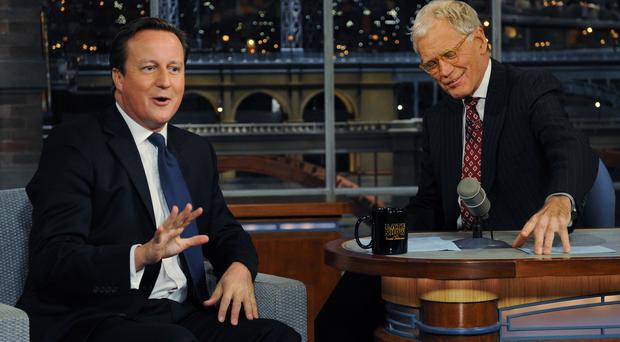 David Letterman has interviewed Prime Minister David Cameron on his late-night TV show