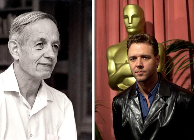 Mathematician John Nash (left) and Russell Crowe, who played him in A Beautiful Mind