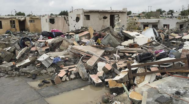 Homes destroyed by a tornado in Ciudad Acuna, northern Mexico. (AP)