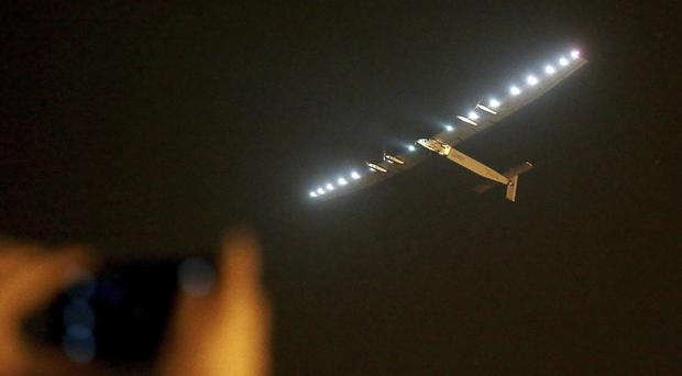The Solar Impulse 2 takes off from Nanjing Lukou International Airport in Nanjing, eastern China (AP)