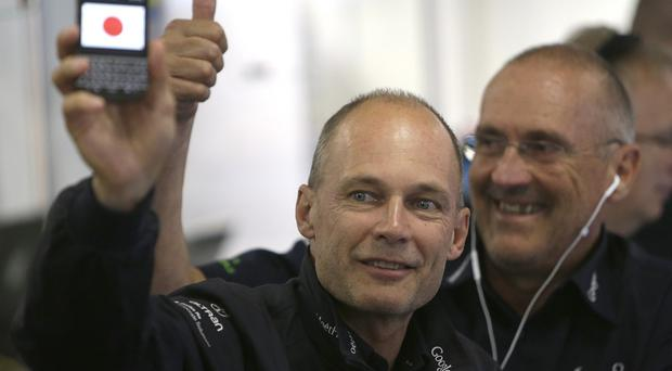 Bertrand Piccard, initiator and chairman of Solar Impulse, reacts after the landing of the plane in Nagoya, Japan (AP)