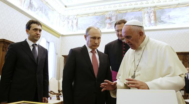 Ukraine and the Middle East were discussed in a meeting between Vladimir Putin and Pope Francis