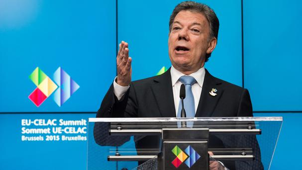 Juan Manuel Santos said Farc guerrillas blew up an energy pylon and blacked out much of the region of Caqueta