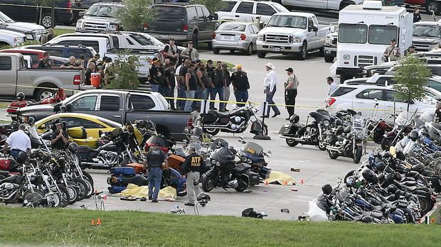 A dispute between two rival biker gangs erupted on May 17 outside the Twin Peaks restaurant