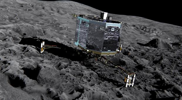 Artist's impression issued by the European Space Agency of the comet lander Philae