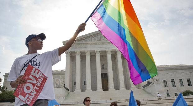 Support for gay marriage outside the Supreme Court in Washington DC. (AP)