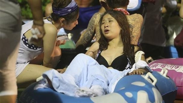 Injured victims are tended to at Formosa Water Park in New Taipei City, Taiwan (AP)