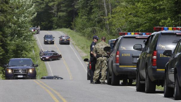 A road block on Route 27 as part of the search for convicted murderer David Sweat (AP)