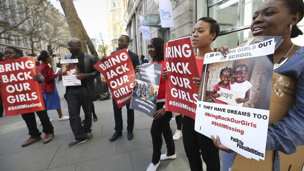 Protesters outside Nigeria House in London demonstrate over the girls' abduction by Boko Haram