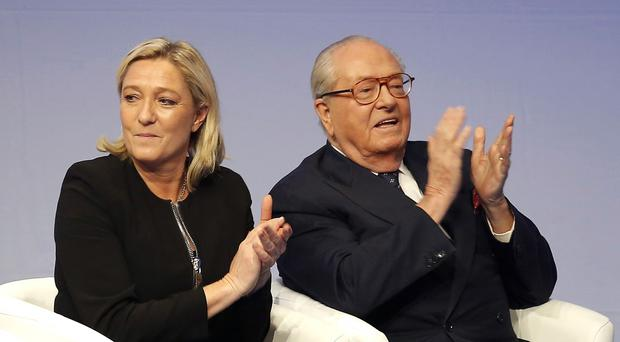 French far-right Front National leader Marine Le Pen and her father Jean-Marie Le Pen. (AP)