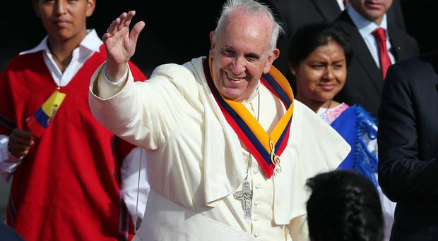 Pope Francis, returning to Spanish-speaking South America for the first time, arrives in Quito, Ecuador (AP)