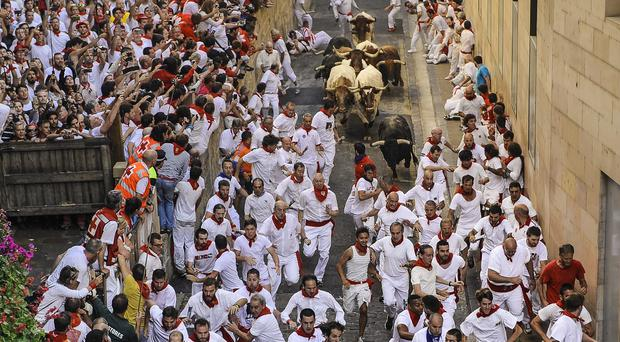 No-one was gored during the latest bull run in Pamplona (AP)