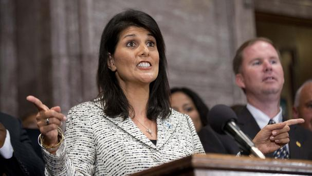 South Carolina governor Nikki Haley during a ceremony where she signed into law a bill enabling the removal of the Confederate flag (AP)