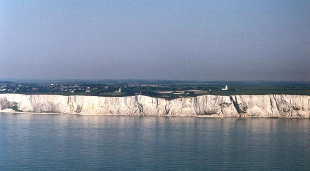 The plane flew to the English shoreline and returned to France