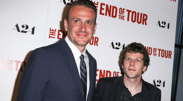 Jason Segel, left, and Jesse Eisenberg at the LA premiere of The End Of The Tour (Invision/AP)