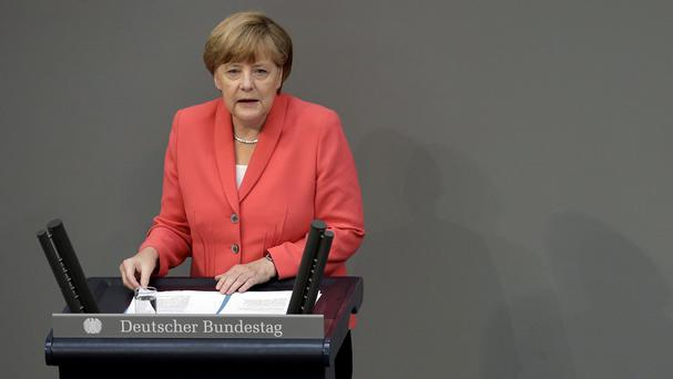 Angela Merkel addresses a meeting of the German federal parliament. (AP)