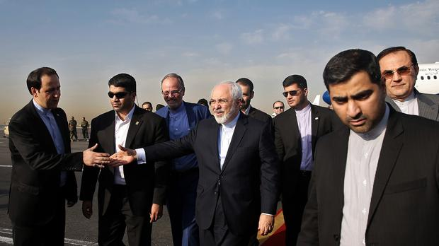 Iran's Foreign Minister Mohammad Javad Zarif (centre), who negotiated the nuclear deal to be discussed by Iran's parliament (AP Photo/Ebrahim Noroozi)